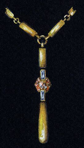 Watercolor and Gouache Gold, Diamond and Spessarite Garnet Pendant Rendering by Joana Miranda