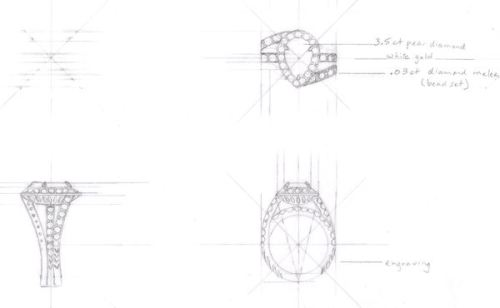 3-View Technical Drawing for Pear Shaped Diamond Ring by Joana Miranda