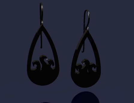 CAD for Oceanscape Earrings from the Shadows Collection by Joana Miranda