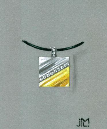 Colored pencil and gouache diamond square pendant rendering by Joana Miranda