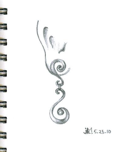 Pencil sketch of double curlicue earring by Joana Miranda