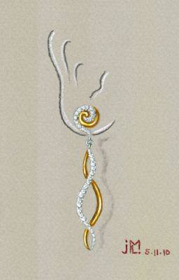 Watercolor and gouache diamond and gold double S-shaped earring design (variation 4) by Joana Miranda
