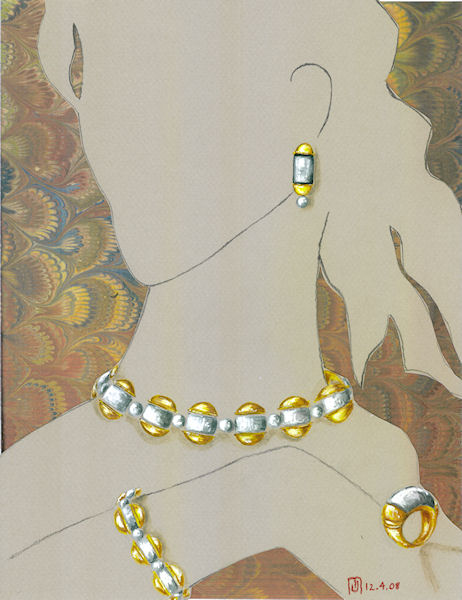 Watercolor and gouache yellow and white metal jewelry suite designed by Joana Miranda