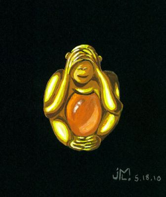 "Watercolor and gouche gold and amber ""See No Evil"" monkey brooch by Joana Miranda"