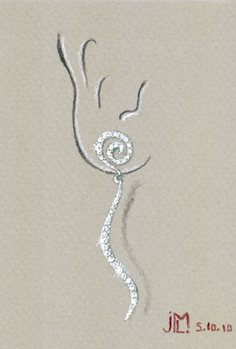 Rendering of delicate squiggle earring with bead-set diamonds by Joana Miranda