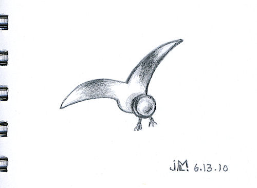 Pencil Sketch of Simple Bird Brooch
