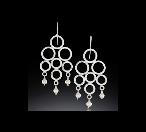 Photo of Gypsy Circle Chandelier Earring in Argentium Sterling Silver with Dangling Freshwater Pearls by Joana Miranda