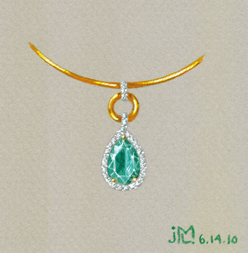 Watercolor and gouache emerald, diamond and gold pendant rendering by Joana Miranda