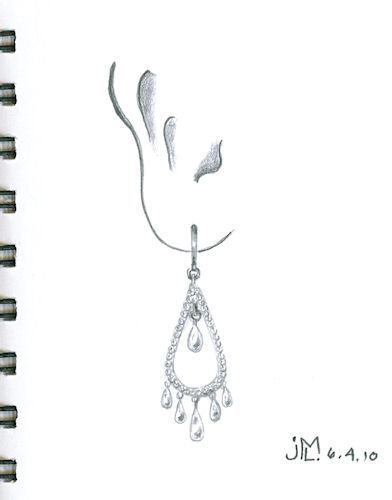 Pencil sketch of diamond and pearl chandelier earring by Joana Miranda