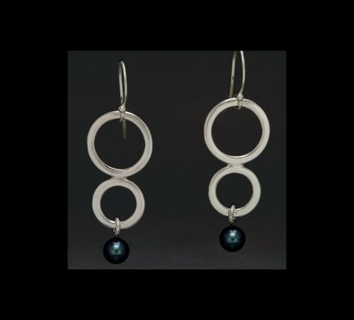 Photo of Argentium Sterling Silver Double Circle Earrings with Freshwater Pearl Drops by Joana Miranda