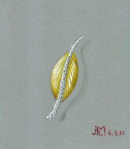 Colored pencil and gouache abstract gold and diamond leaf brooch rendering by Joana Miranda