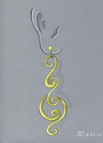 Colored Pencil and Gouache Gold Swirl Earring Rendering by Joana Miranda
