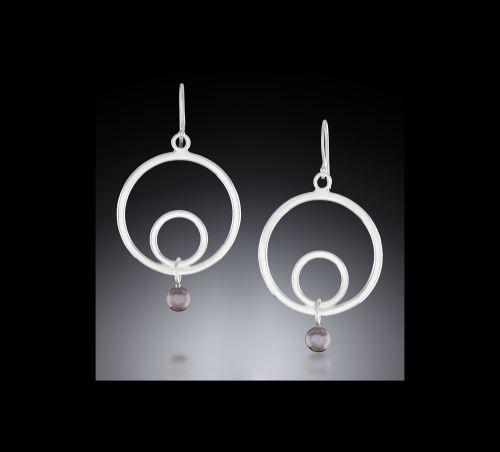 Professional photo of Gypsy Double Circle Earrings with Black Pearl Dangles