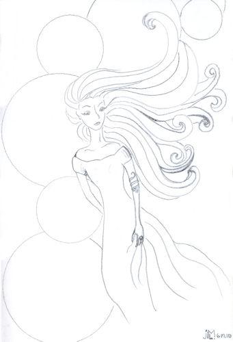 "Line drawing of ""Jeweled Lady #3"" by Joana Miranda"