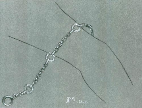 Pencil and Gouache Art Deco Style Chain Link Bracelet Rendering by Joana Miranda