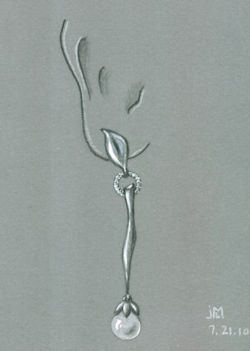 """Colored pencil and gouache rendering of Pearl """"Bud"""" and Leaf Diamond Earring by Joana Miranda"""