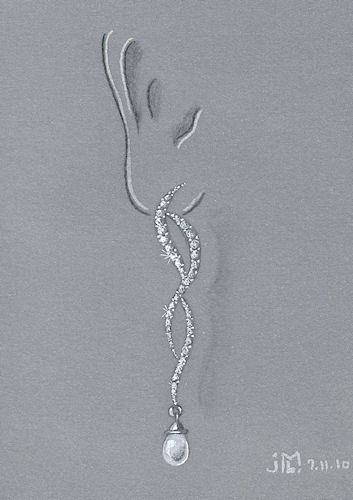 Colored pencil and gouache diamond and pearl drop swirl earring by Joana Miranda