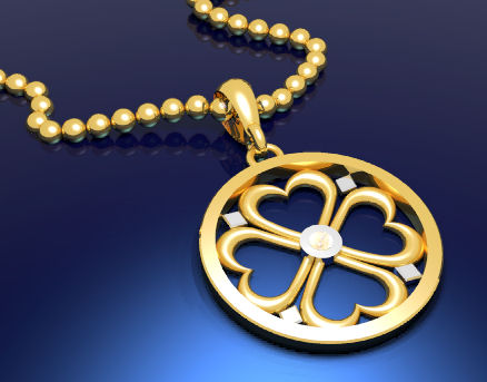 Computer aided design of yellow and white gold heart medallion with diamond center by Joana Miranda