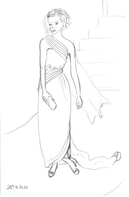 "Pencil drawing on vellum paper of ""Jeweled Lady #11"" by Joana Miranda"
