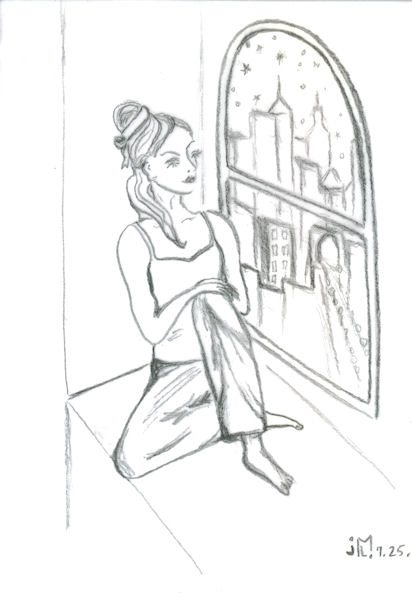 "Pencil drawing of ""Jeweled Lady #9"" by Joana Miranda"