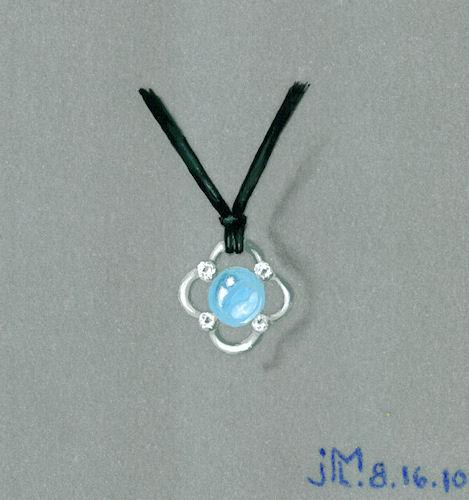 Watercolor and goauche aquamarine, diamond and white metal pendant rendering by Joana Miranda