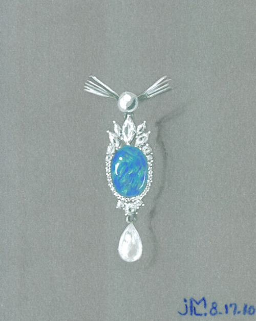 Watercolor and Gouache Diamond, Opal and Pearl Pendant Rendering by Joana Miranda