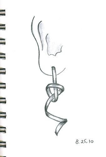 Pencil Rendering of Twist Earring with Knot by Joana Miranda