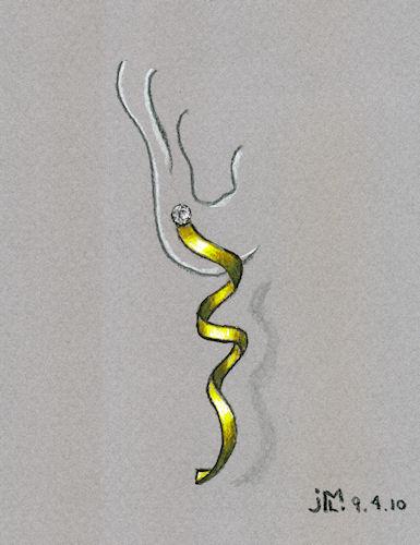 Pen and Ink Twist and Swirl Gold Earring Rendering by Joana Miranda