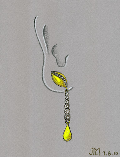 Pen and Ink Gold and Diamond Leaf Earring with Gold Tear Drop Dangle by Joana Miranda