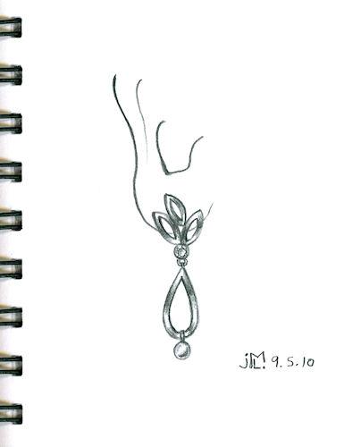 Pencil Sketch for Leaf-Inspired Drop Earring by Joana Miranda
