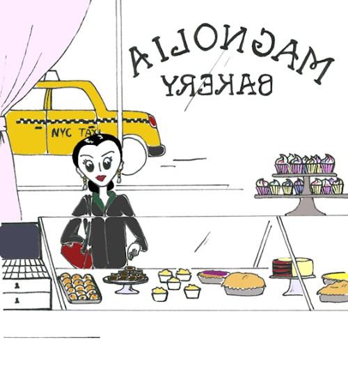 "Pen and computer rendered ""Josephine at Magnolia Bakery"" illustration by Joana Miranda"