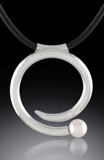 Argentium Akoya Pearl and Rubber Pendant hand-fabricated by Joana Miranda