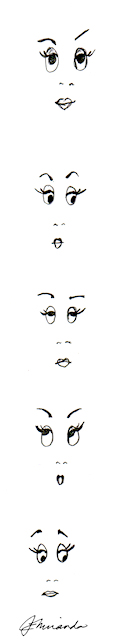 Pencil sketches for funny face expressions by Joana Miranda