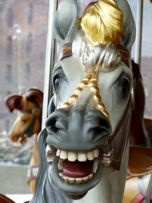 Photo of intricately carved carousel horse, taken by Joana Miranda