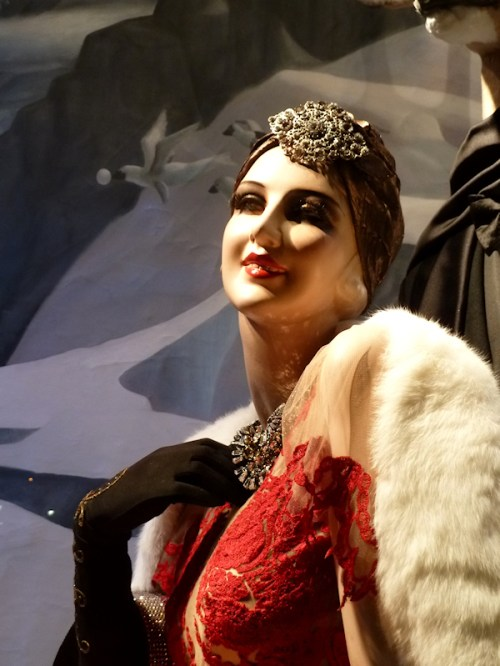 Photo of bejeweled mannequin at 2011 Bergdorf Goodman Christmas windows, taken by Joana Miranda