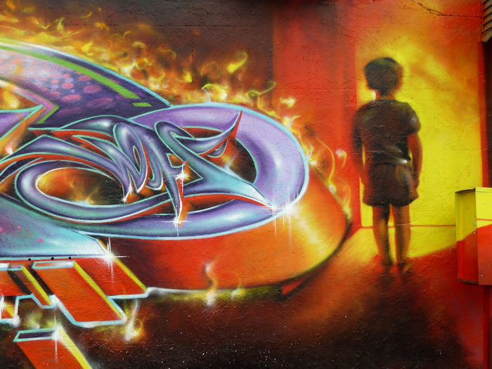 "Photo of ""infernal"" graffiti art in Brooklyn, NY, taken by Joana Miranda"