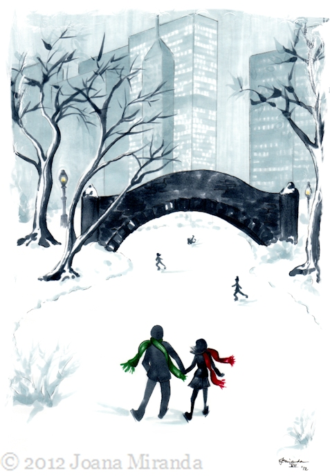 New Holiday Illustration - A Winter's Date by Joana Miranda
