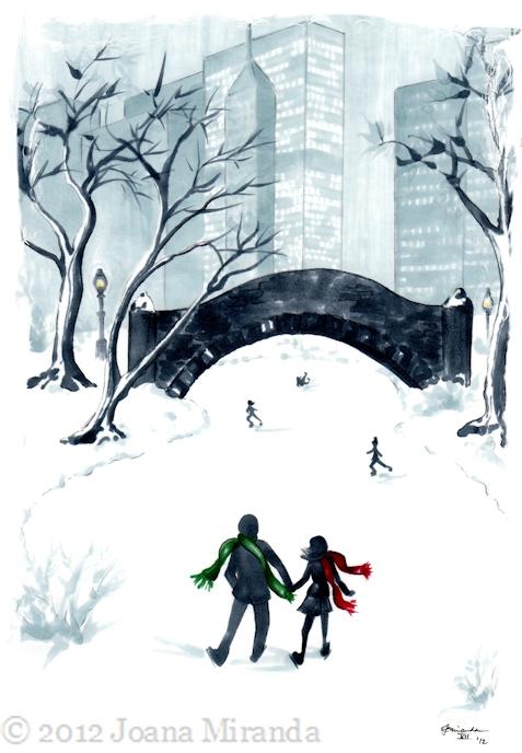 New Holiday Illustration - A Winter's Date by Joana Miranda