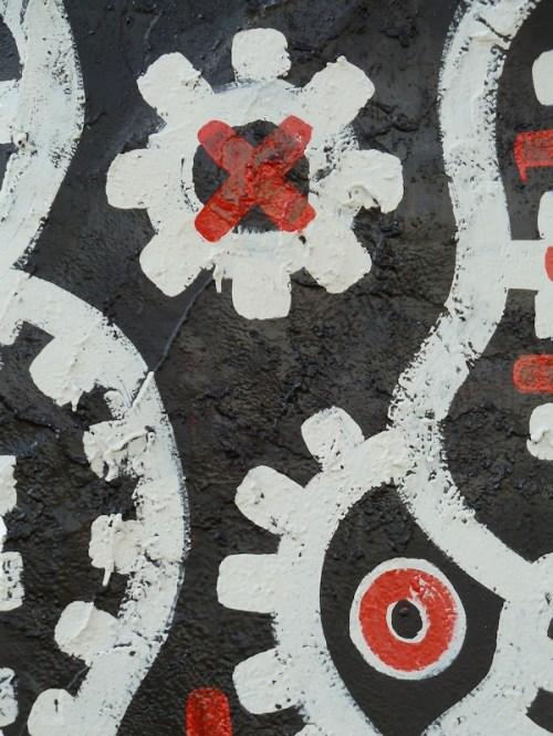 black, white and red graffiti