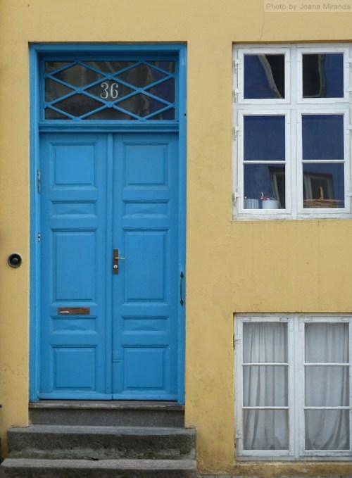 Blue door yellow wall
