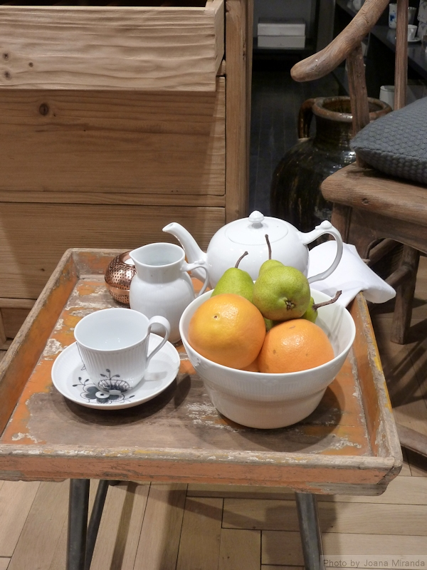"""Still Life"" style photo of Royal Copenhagen china with fruit, taken by Joana Miranda"