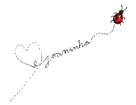 Marker and ink illustration of ladybug walking across the page, by Joana Miranda