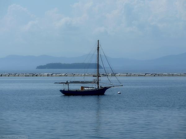 Photo of sailboat in the harbor of Lake Champlain, taken by Joana Miranda