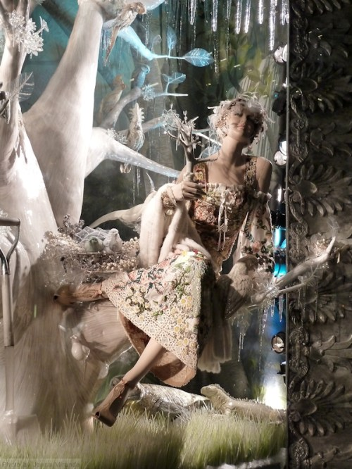 Country lady in 2013 Bergdorf's Xmas window display