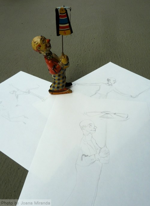 Antique toy with sketches