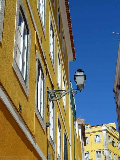 vivid yellow and blues in Lisbon