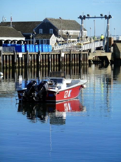 red boat in Nantucket harbor