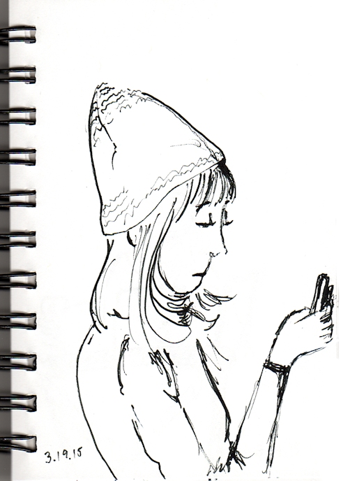 Girl reading cell phone