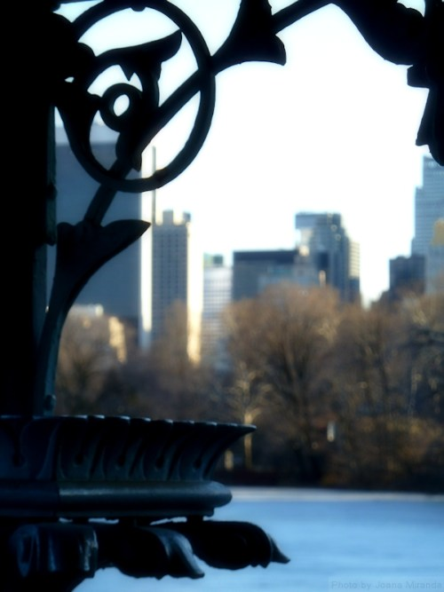 View of Central Park South through the gazebo