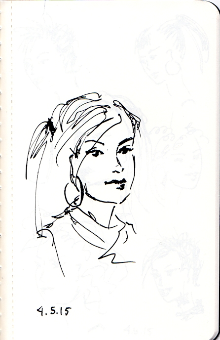 young woman three quarter view sketch